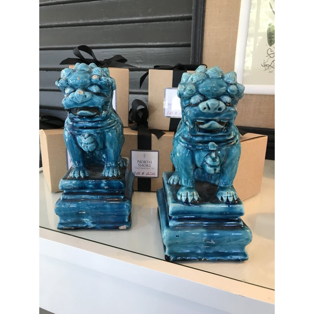 Vintage Turquoise Foo Dogs Figures - A Pair - Image 2 of 6