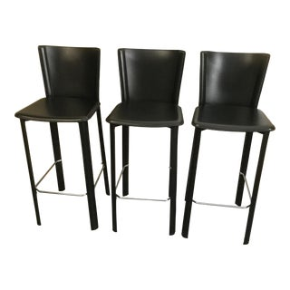 Design Within Reach Leather Barstools - Set of 3