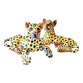 Italian Mid-Century Majolia Leopards -Meiselman Imports