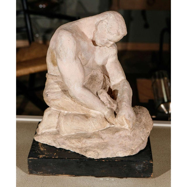 Image of WPA Sculpture of Man in Thought
