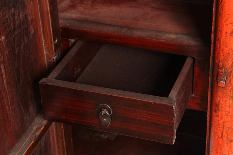 Awesome 19th Century Four Door Red Lacquer Chinese Scholaru0027s Cabinet   Image 7 Of 10