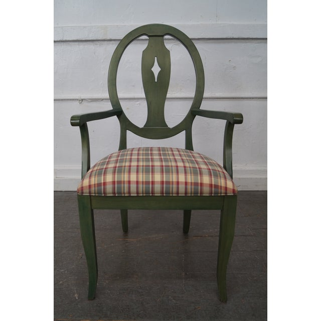 Ethan Allen Country Green Painted Arm Chair - Image 11 of 11