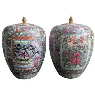 Vintage Chinese Gilded Porcelain Vessels - A Pair