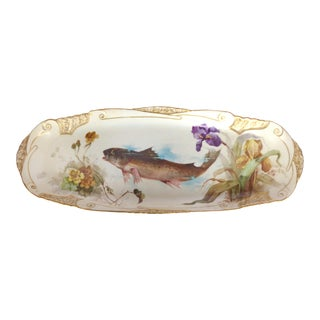 1900 J. Etienne Hand-Painted Limoges Porcelain Fish Platter
