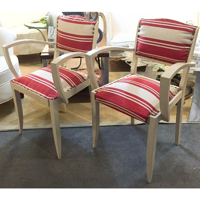 Pair, 1930's French ArmChairs, Red Stripes - Image 2 of 10