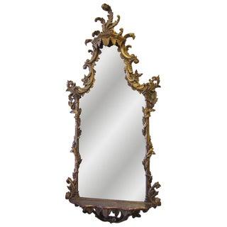 Antique Rococo Gilt Mirror with Shelf