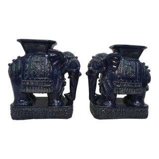Terracotta Elephant Garden Stools - A Pair