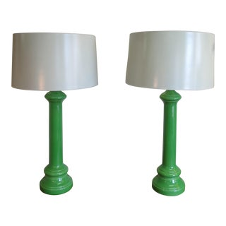 1970s Mid-Century Glazed Ceramic Table Lamps - A Pair