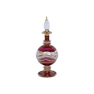Raspberry & Gold Glass Perfume Bottle