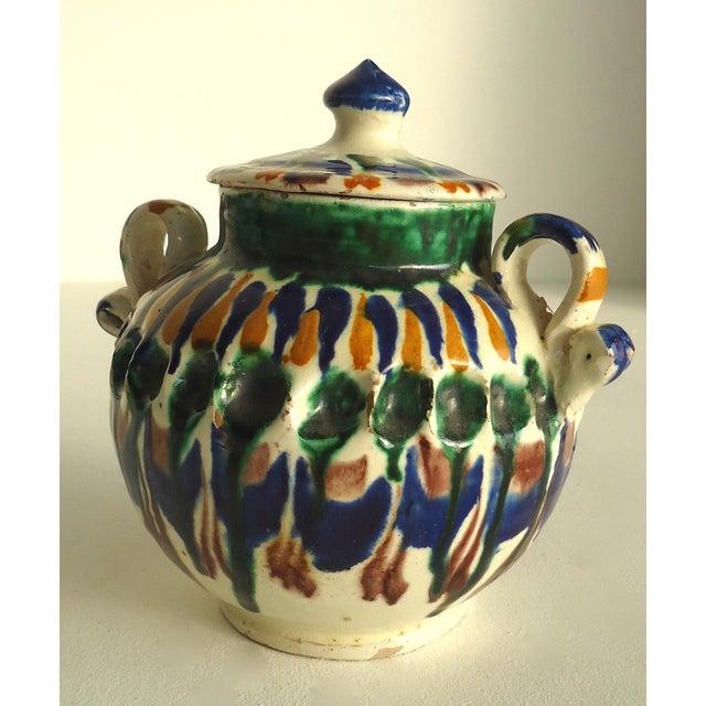 Rustic Folk Pottery Sugar Jar - Image 4 of 6