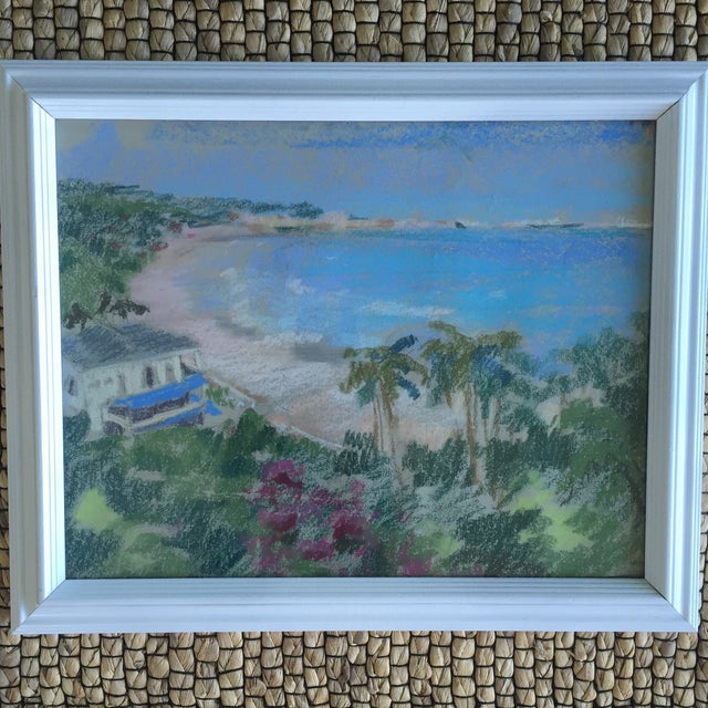 Original Oil Pastel Carribean Coastal Seascape Framed Art - Image 6 of 10