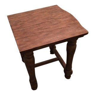 Rustic Wooden Stretcher Based End Table