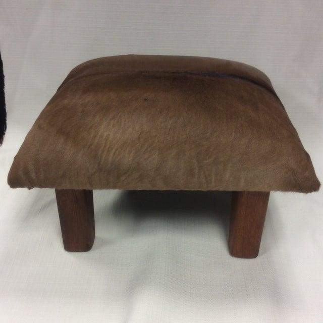 Cowhide Leather & Laurel Wood Footstool - Image 5 of 7