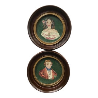 Framed Needlepoints of Gentleman & Young Woman - A Pair
