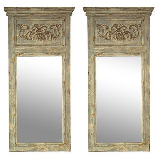 Swedish Gustavian Style Trumeau Mirrors - Pair