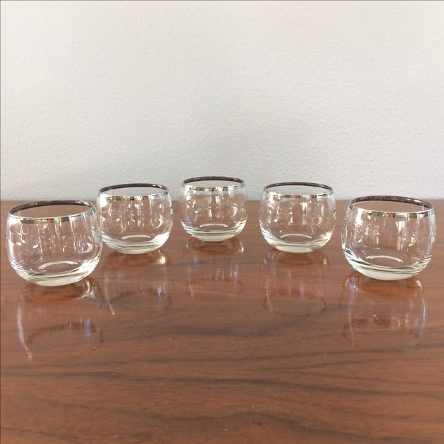 Mid Century Silver Rim Glasses - Set of 9 - Image 7 of 9