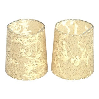 Gold Flecked Ecru Clip-On Fiberglass Shades - A Pair