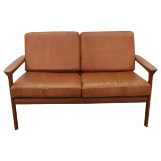 Cognac Leather Sofa/Loveseat with Teak Frame, Scandinavian Modern, 1970