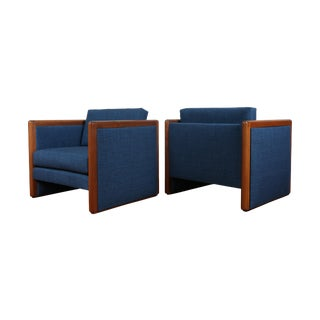 Navy Blue Mid-Century Club Chairs- A Pair