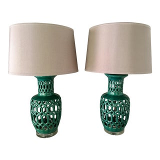 Kelly Green & Lucite Lamps - a Pair
