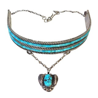 Sterling Silver & Turquoise Tribal Choker
