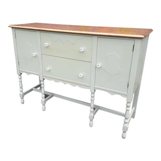 Restored Vintage Farmhouse Gray Sideboard