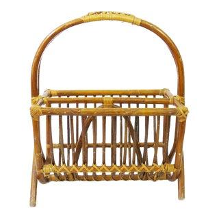 Vintage Franco Albini Style Bamboo Magazine Rack