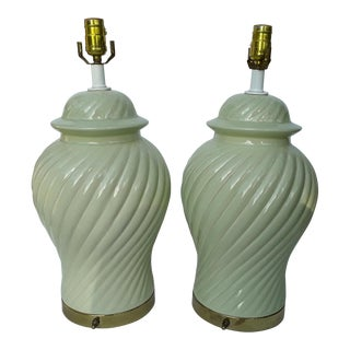 Ceramic Celadon Green Ginger Jar Lamps - A Pair