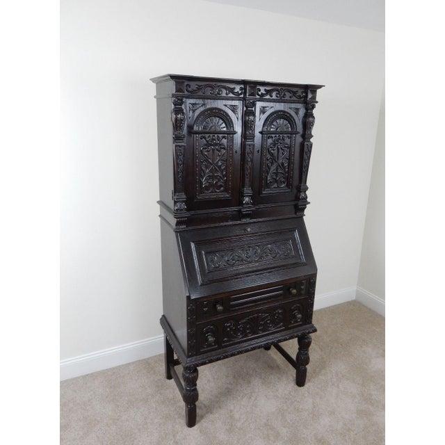 Antique Carved Solid Oak Jacobean Slant Front Desk - Image 3 of 11