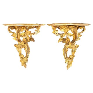 Italian Gilt Wood Wall Shelves - a Pair