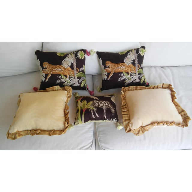 Luxe Leopards & Zebra With Taffeta Ruffled Pillows - Set of 5 - Image 3 of 9