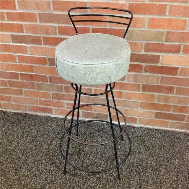 Mid-Century Modern Wrought Iron Stool - Image 2 of 10