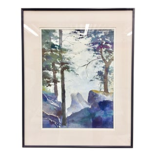 Wilderness Landscape Framed Watercolor Painting