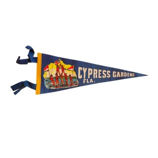 Vintage Cypress Gardens, Fla. Felt Flag
