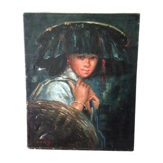 Vintage Portrait of Young Woman, Oil on Canvas