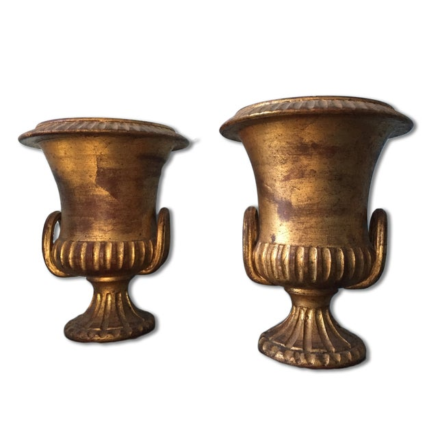 Italian Terracotta Gold Urns- A Pair - Image 1 of 6