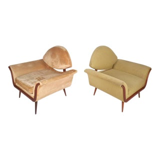 Mid-Century Adrian Pearsall Style Gondala Lounge Chairs - A Pair