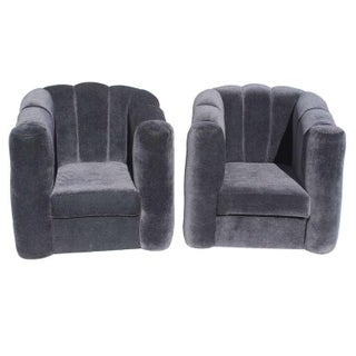Art Deco Style Black Velvet Club Chairs - A Pair