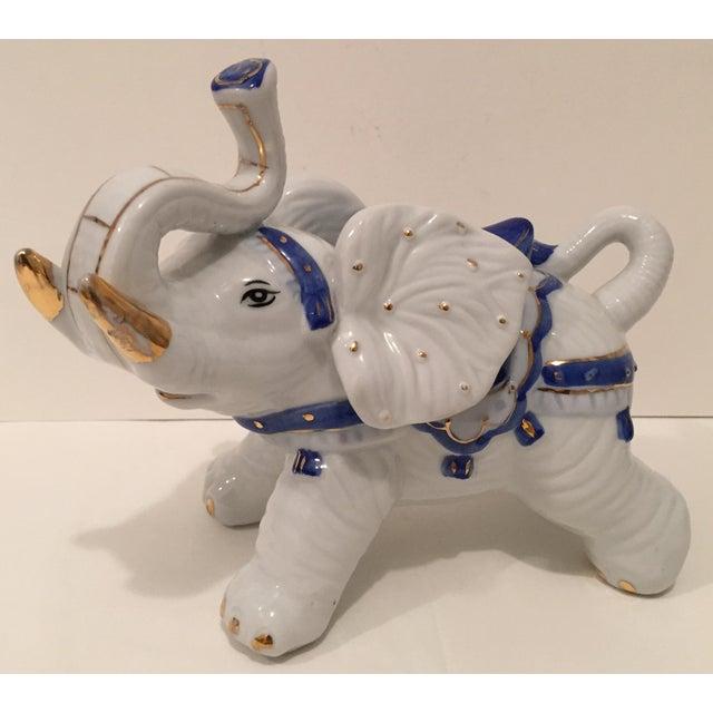 White Chinoiserie Porcelain Elephant Figurine Chairish