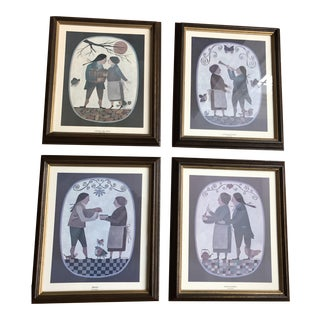 Grouping of 4 Primitive Framed Pictures