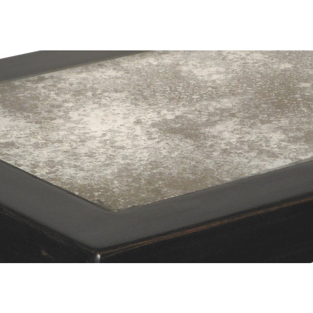 Antiqued Black Lacquer Mirrored Side Table - Image 4 of 5