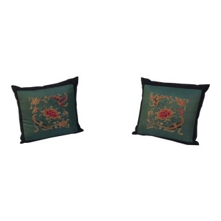Jade Silk Asian Embroidered Floral Butterfly Pillows - A Pair