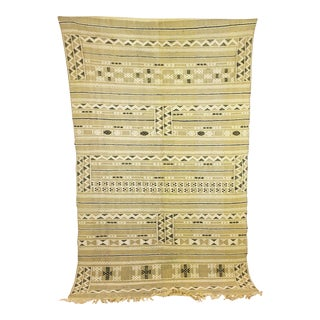 Neutral Wool Moroccan Kilim - 4′6″ × 7′3″