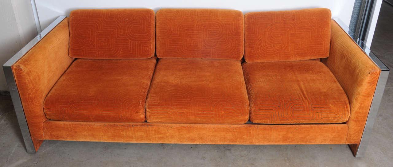 Mid Century Modern Orange Velvet Milo Baughman Sofa   Image 3 Of 7