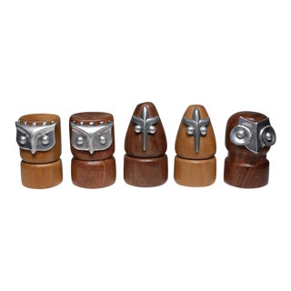 Mid-Century Walnut, Teak and Aluminum Chess Pieces C. 1960s-Price is for all 5