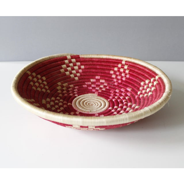Image of Vintage Geometric Woven Basket Tray Wall Hanging Round Tribal