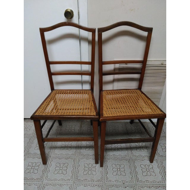 Cane Seat Wood Chairs - A Pair - Image 2 of 10