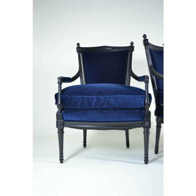 directoire style fauteuil chairs pair chairish. Black Bedroom Furniture Sets. Home Design Ideas