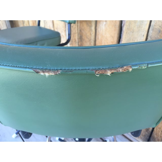 Mid-Century Bar Stools in Jade - A Pair - Image 5 of 11