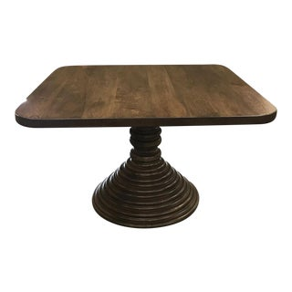 Custom Walnut Square Top Pedestal Table